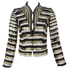 Gucci Black White Gold Fringe Leather Jacket