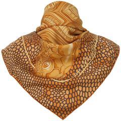 Hermes Silk Scarf De Madras A Zakynthos Turtle Orange Brown 90 cm