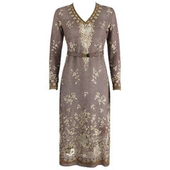 OOAK 1930's Parisian Haute Couture Brown Bronze Metallic Knit Embroidered Dress