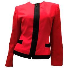 Lolita Lempicka Red Zip-Up Jacket with Black Trim