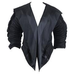 Issey Miyake Pleated Slate Black Sculptural Jacket
