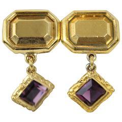Nice Yves saint Laurent Vintage Earring with purple stone