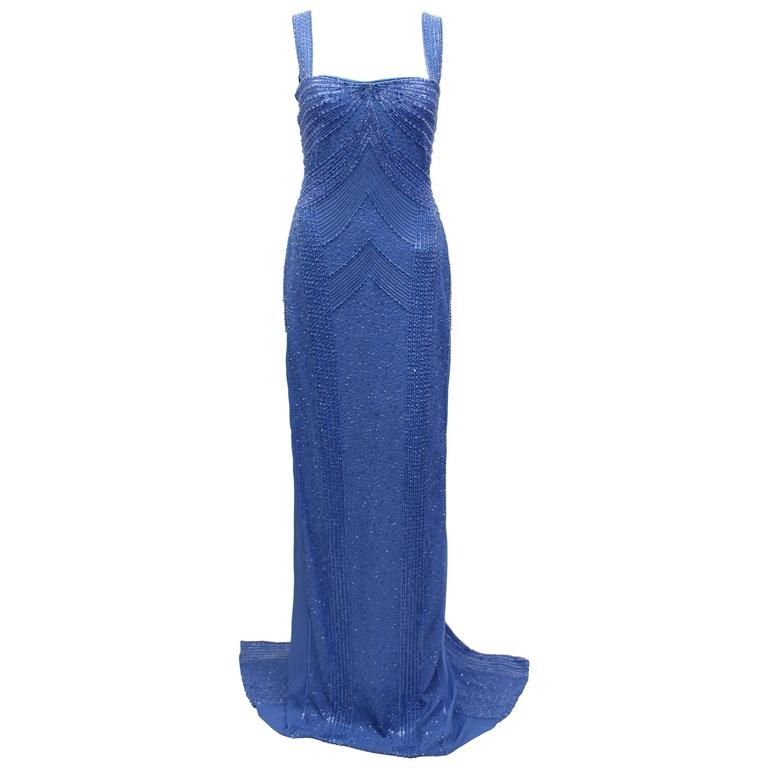 New Versace embellished blue gown