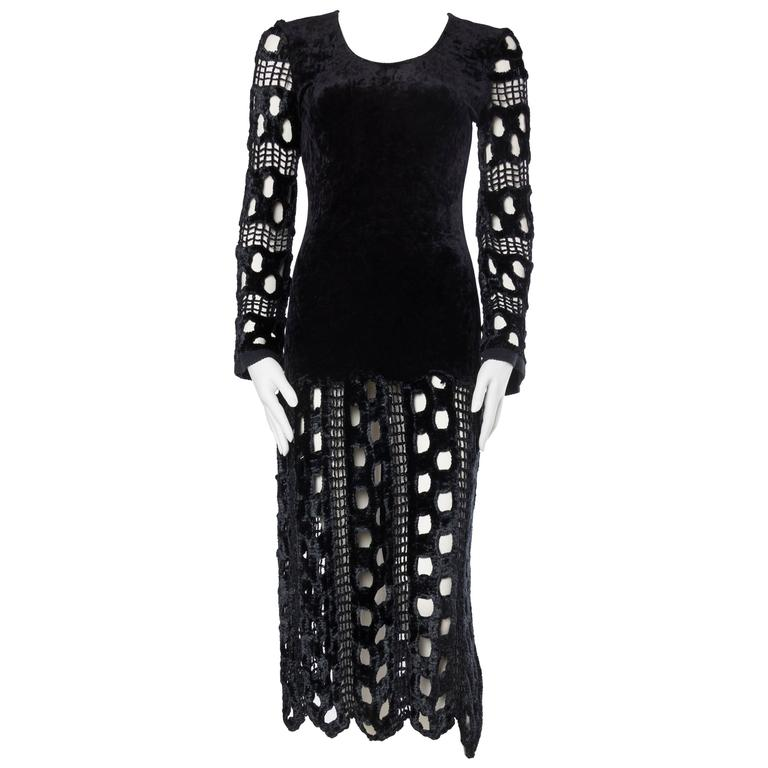1980s Body-con Stretch Velvet and Crochet Dress