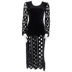 1980s Body-con Stretch Velvet and Crochet Dress
