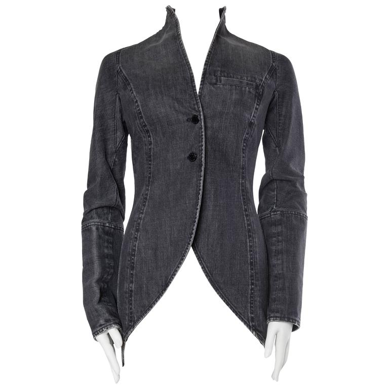 Victorian Style Givenchy Distressed Denim Frock Coat