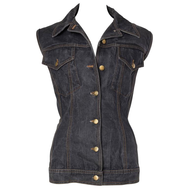 Jean Paul Gaultier Corset Laced Back Denim Jacket Vest For Sale