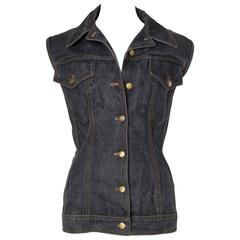 Jean Paul Gaultier Corset Laced Back Denim Jacket Vest