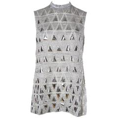 Space chic Mod 1960s Metallic Silver Micro-Mini Dress