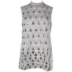 Space chic Mod 1960s Metallic Silver Micro-Mini Dress