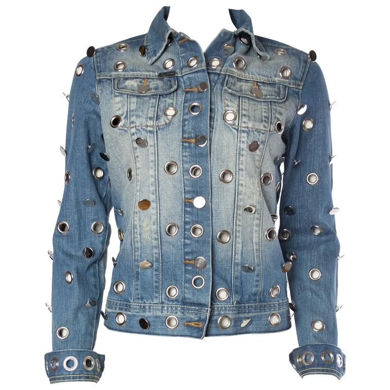 Denim Jacket Covered in Mirrored Buttons and Gromets For Sale