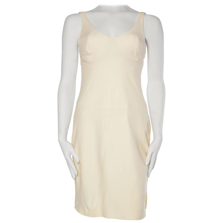Gianni Versace Versus Stretch Cream Underwire Dress with Slit