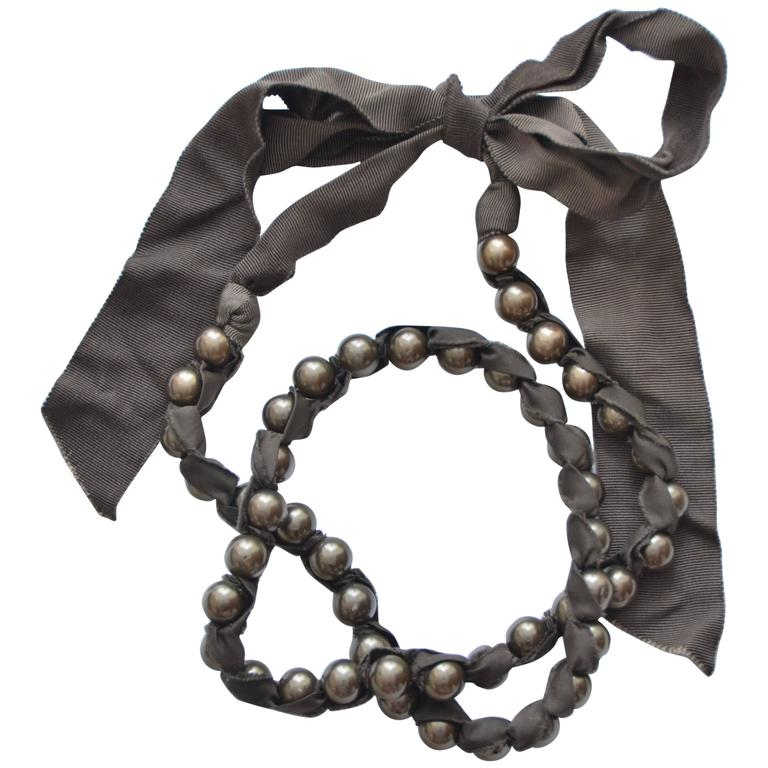 Lanvin Pearl Necklace: Lanvin Ribbon Pearl Necklace At 1stdibs