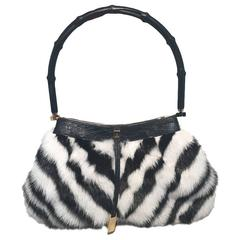 Gucci Black and White Chevron Zebra Print Fur Handbag