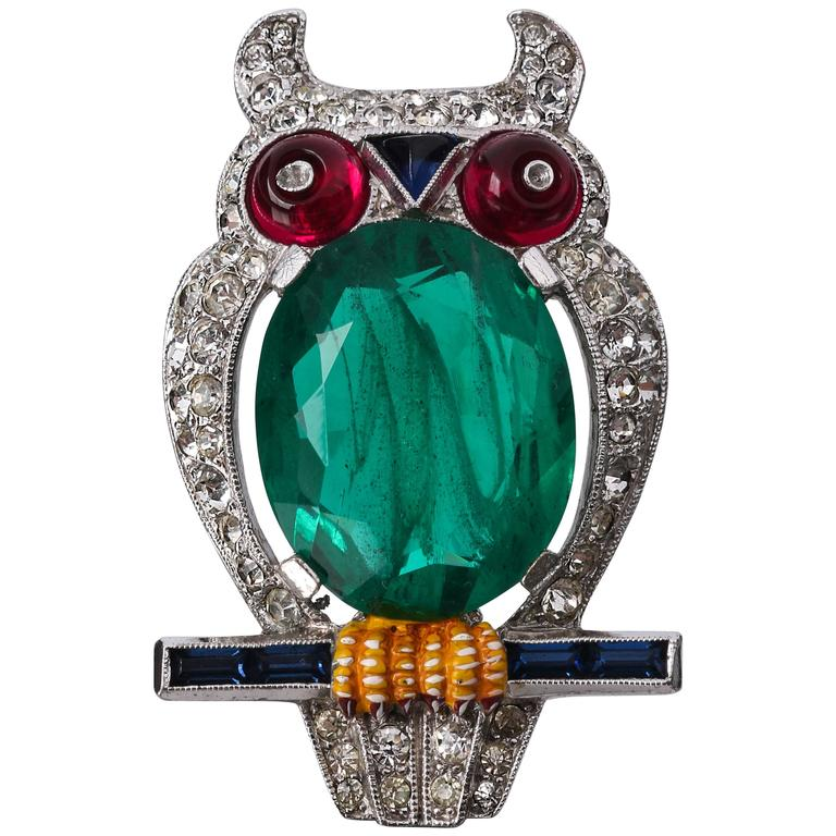 c.1941 CROWN TRIFARI Alfred Phillipe Emerald Owl Jelly Belly Fur Clip Brooch For Sale