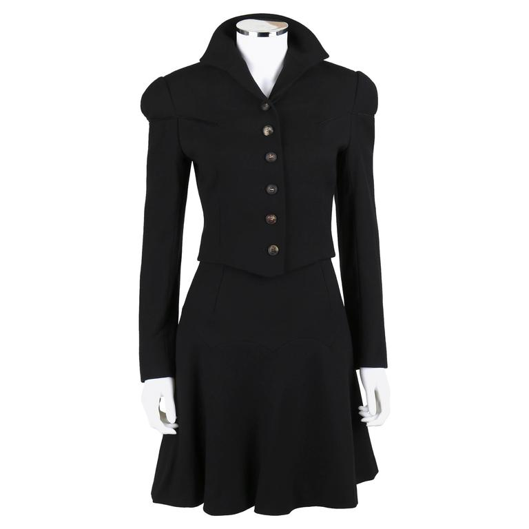 bbc8f8f391 GIVENCHY Couture JOHN GALLIANO A/W 1996 2 Piece Black Wool Skirt Suit Size  36