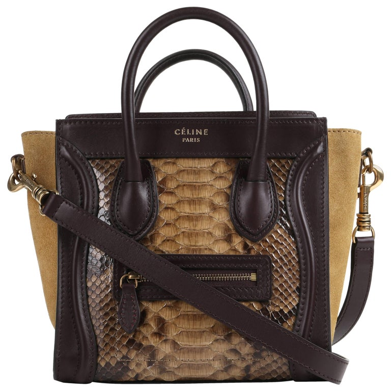 CELINE Dark Brown Olive Genuine Python Suede Nano Luggage Tote Handbag Purse For Sale