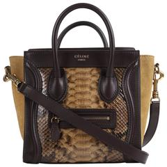 CELINE Dark Brown Olive Genuine Python Suede Nano Luggage Tote Handbag Purse