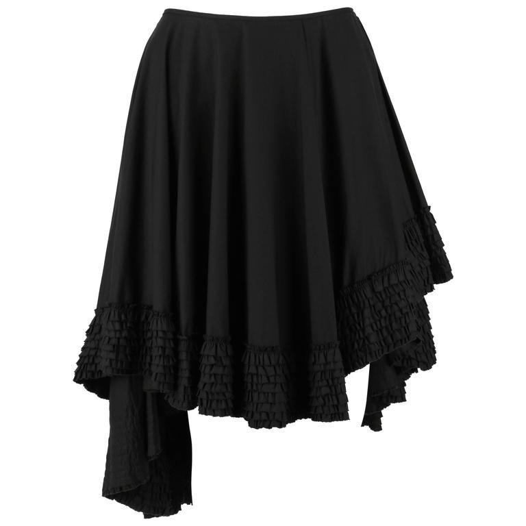 """ALEXANDER McQUEEN S/S 2002 """"Dance of the Twisted Bull"""" Black Asymmetrical Skirt"""