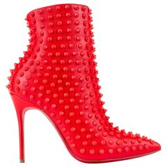 "CHRISTIAN LOUBOUTIN ""Snakilta"" Corazon Red Spike Leather Ankle Boots Booties 36"