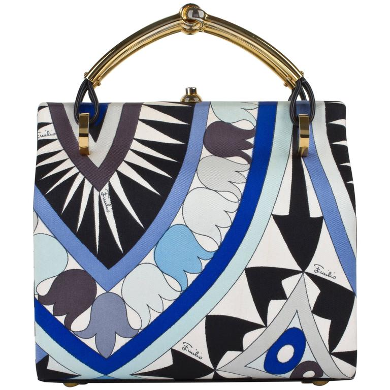 1960s EMILIO PUCCI Blue Signature Print Silk Structured Box Purse Handbag  For Sale