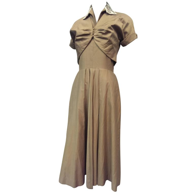 1950s Taupe Cotton Twill Halter Dress w Beaded Collar and Matching Bolero 1