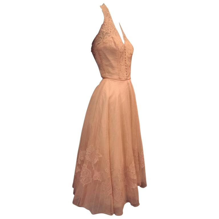 fd991ffdd1e 1950s Karen Stark for Harvey Berin Pink Pin-Tuck Organza and Lace Halter  Dress For