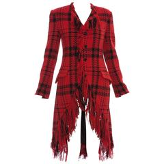 Yohji Yamamoto Red And Black Wool Tartan Fringed Jacket, Autumn - Winter 2003