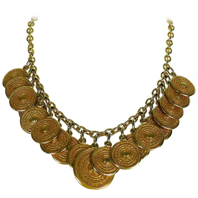 Yves Saint Laurent YSL Vintage Gold Toned Gypsy Coin Necklace For Sale