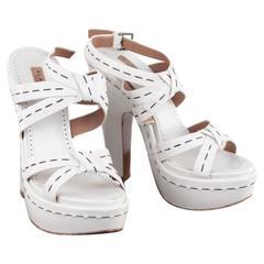 AZZEDINE ALAIA White Leather PLATFORM SANDALS Heels SHOES 39 w/ BOX