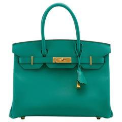 Hermes Handbag Birkin 30 Veau Epsom 7F Bleu Paon Gold Hardware 2016.