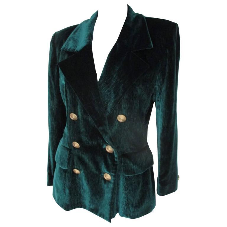 velvet green yves saint laurent blazer 1