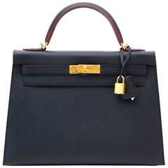 Brand New Limited Hermes Kelly 32 Contour Epsom Blue Indigo