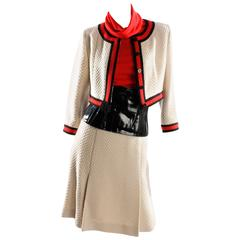 Chanel 4-pcs Suit - cream/red/black wool