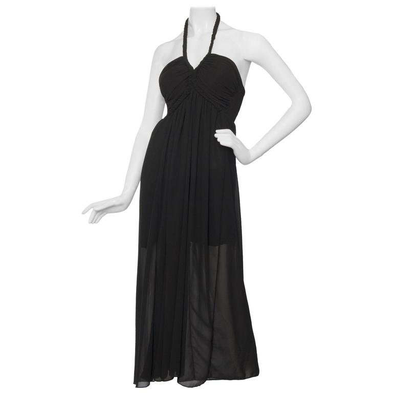 1970s Black Halterneck Dress