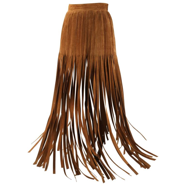 HERMES 1970s Brown Calf Skin Suede Leather Mini Long Maxi Fringe Skirt Size 38 1