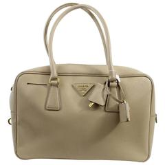 Prada Safiano Beige Leather Shoulder Bag