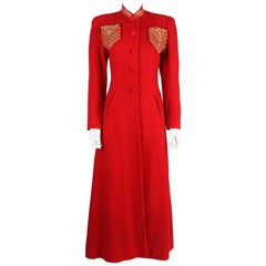 c1939 Schiaparelli Attributes Chas A Stevens Red Wool Princess Evening Coat XS S