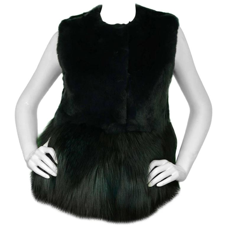 Co Bottle Green Fox and Rabbit Fur Vest Sz Small rt. $3,500 1
