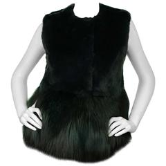 Co Bottle Green Fox and Rabbit Fur Vest Sz Small rt. $3,500