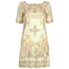 1960s EMILIO PUCCI Ivory Pastel Print Silk Short Sleeve Shift Dress 8