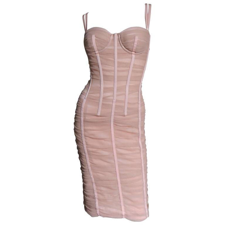 6e3037c3 Dolce and Gabbana Nude Pink Silk Ruched Bodycon Corset Dress at 1stdibs