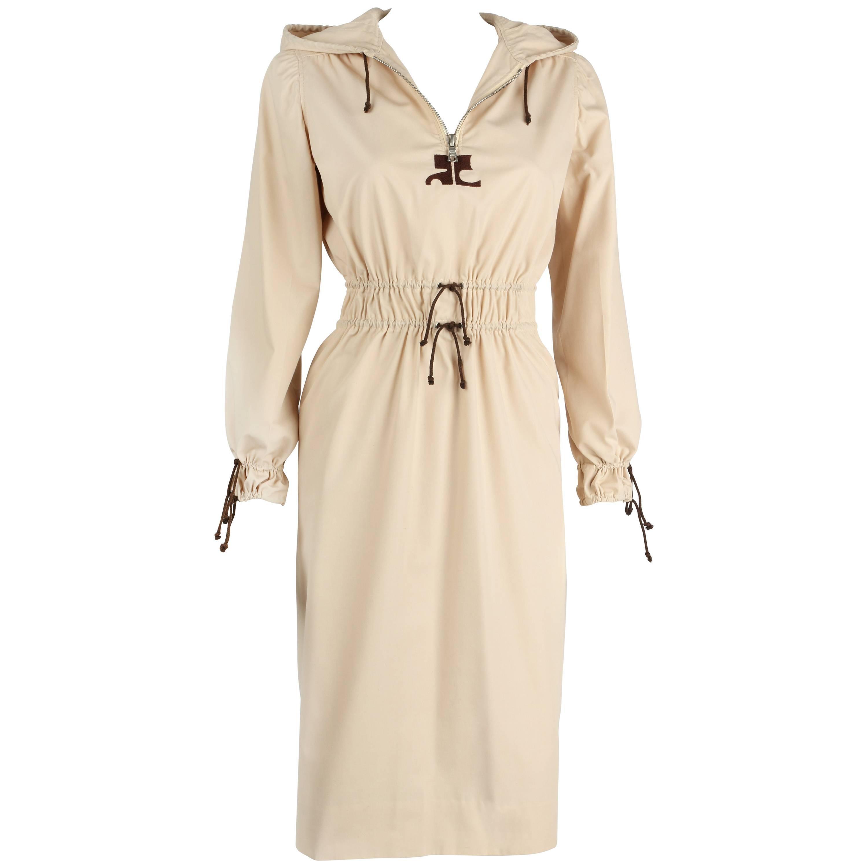 c. 1970's COURREGES HYPERBOLE Khaki Beige Drawstring Hooded Trench Coat Dress O
