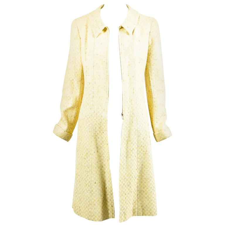 Vintage Chanel Yellow White Tweed Zipped Front Split Long Structured Coat SZ 40 1