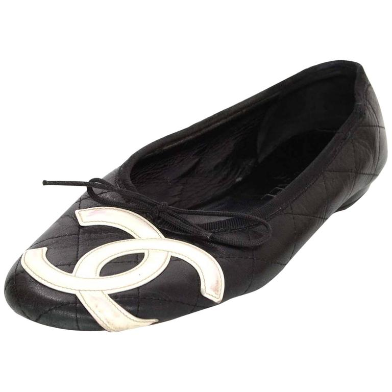 chanel black and white cambon flats sz 7 5 for sale at 1stdibs