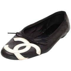 Chanel  Black and White Cambon Flats Sz 7.5