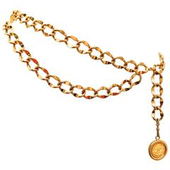 Chanel Gold Tone Metal Belt w/ Iconic CC Medallion