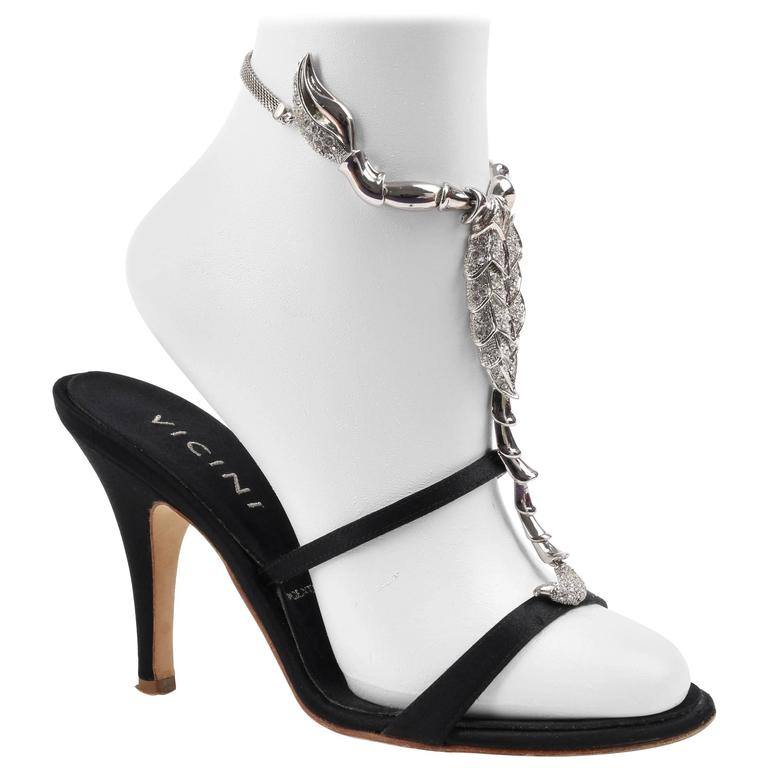 Ltd Ed Vicini GIUSEPPE ZANOTTI 2015 Black Satin Rhinestone Scorpion Sandals 35.5 For Sale