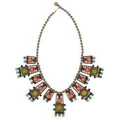 1970s Juliana Delizza Elster Gold Moroccan Matrix Multicolor Cabochon Necklace