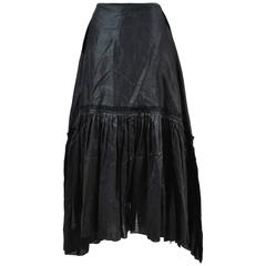 Junya Watanabe Comme des Garcons New w/Tag Black Linen Tiered Pleated Skirt SZ M